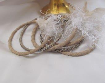Stacking Bangle Bracelets Textile Leather Set of 6 Beige Rhinestone Gold (#32)