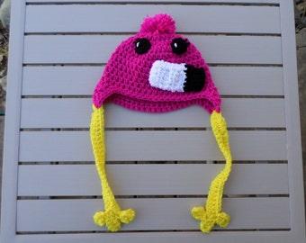 Flamingo Crochet Hat; Flamingo Hat; Animal Hat; Newborn Flamingo Hat