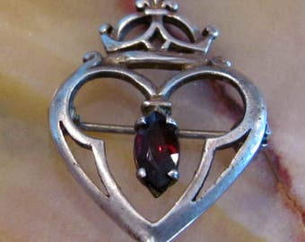 Antique Edwardian Jeweled Crown Brooch with cut Garnet, Very old Crown Brooch with Gemstone