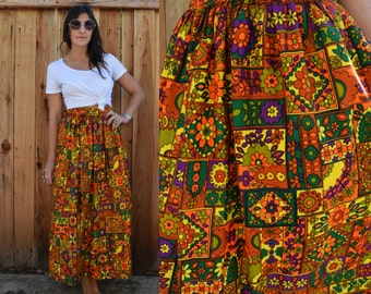Vintage 70s PSYCHEDELIC MAXI Skirt M