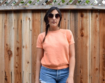 Vintage 60s PEACH Short Sleeved SWEATSHIRT S