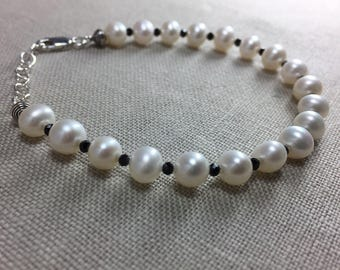 Freshwater Pearl and Black Spinel Bracelet in Sterling Silver