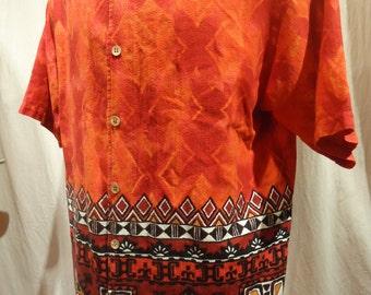 Vintage Hawaiian Shirt Red Barkcloth size Large