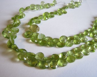 Stunning Peridot faceted heart briolettes, 7 inches, 5-8mm (w94)