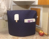 Navy Blue Quilted Mixer Cover with 2 Pockets Holds Kitchen Utensils and Cookbooks Ready To Ship