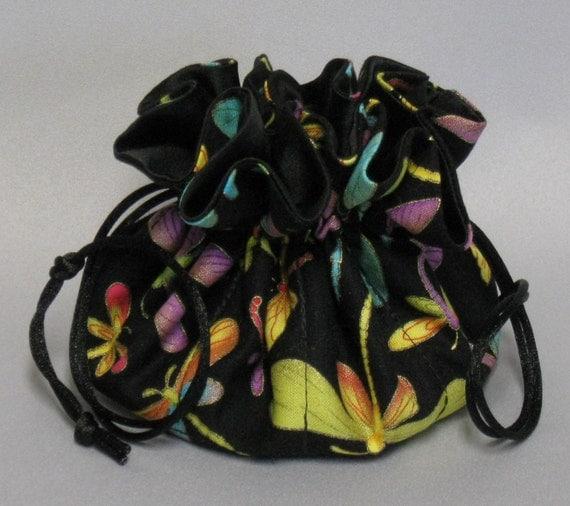 Jewelry Drawstring Travel Tote---Dragonflies Organizer Pouch-----Medium Size