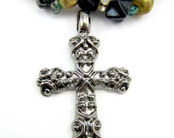 3 Gunmetal cross pendant antiqued metal cross charms religious  jewelry rosary supply 53mm x 34mm HpM001-(SR5-5)