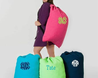 Monogrammed Large Waffle Weave Laundry Bags; Available in 8 Colors; Perfect for Guys & Girls; Graduation Present or Perfect for Summer Camp