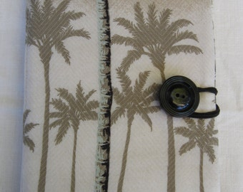 E-reader cover, Kindle, Nook Glowlight Plus, repurposed fabric, tan, palm trees