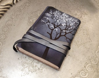 RESERVED FOR  JACQUIE personalized leather journal with vintage style pages custom quote text on first page free monogramming - Spring Night