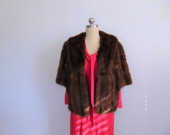 50s brown FUR STOLE size medium