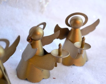 Vintage Christmas Ornaments - Brass Angels - 4