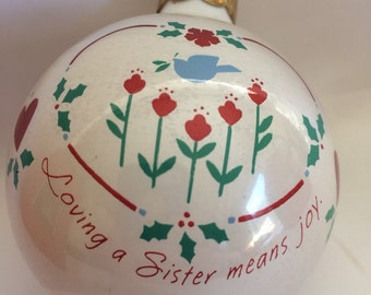 Hallmark 1989 Sister Glass Ornament