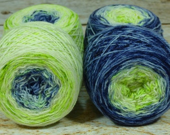 "Full "" Will-O'-The-Wisp "" - Llark Handpainted Gradient Speckle Sock Yarn"