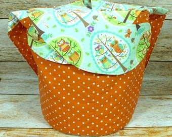 Polka Dot Parliament Of Owls -Large Llayover Tote/ Knitting, Spinning, Crochet Project Bag