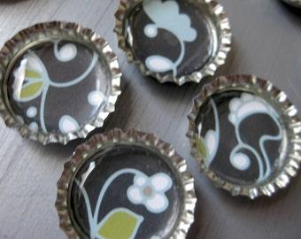 Green, White and Aqua Floral Pattern on Black Bottlecap Magnets - Set of 4