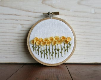 Yellow Floral One Of A Kind Embroidery Hoop Fiber Art - 3 Inch Embroidery Hoop - Nursery Decor
