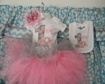 GreatStitch Adorable Elephant Birthday Shirt Onesie Tutu and Bib 1st Birthday Outfit With Bow