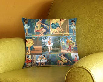 Paint by Number Ballerinas Throw Pillow Cover - vintage paint by number dancers - 2-sided printing - 3 sizes