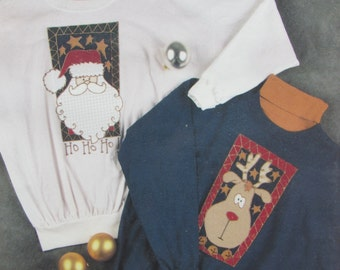 Ho Ho Ho!/Craft Pattern by Out On A Whim/No Sew Appliqué Pattern/Christmas/Santa/Reindeer/1993