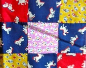SALE:) QUILT TOP  * Small Size * Vintage Cotton Novelty Feedsack Floursack Fabrics in Tiny Squares   - 70 x 86