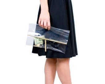 Clear Clutch Bag Gold Bar and Tassel Transparent Evening Bag