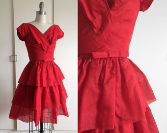 Vintage 50s 60s Tiered Red Cocktail Dress with Bow XS