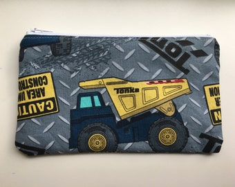 Snack Bag, Zippered Snack Bag Boy, Food Bag, Zipper Bag, Essential Oil Bag - tonka truck