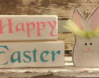 Happy Easter Pastel Color Blocks With Bunny Head Glitter Blocks Holiday Blocks