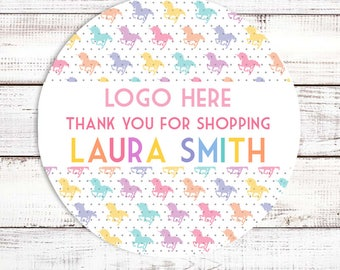 Thanks For Shopping Lula - Fashion Consulting Stickers - Rainbow Unicorns Personalized Round Sticker Labels - Available in 8 sizes