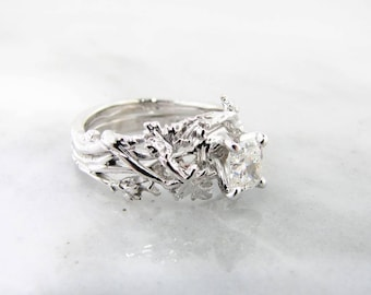 Maple Leaf Wedding Set, White Gold and Half Carat Diamond