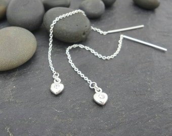 Sterling Silver heart with zirconia threaders . Elegant ear thread earrings . Simple classy ear thread earrings