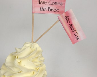 Printable Bridal Shower Cupcake Flags, Drink Flags - Digital Download - Appetizer Picks - SALE