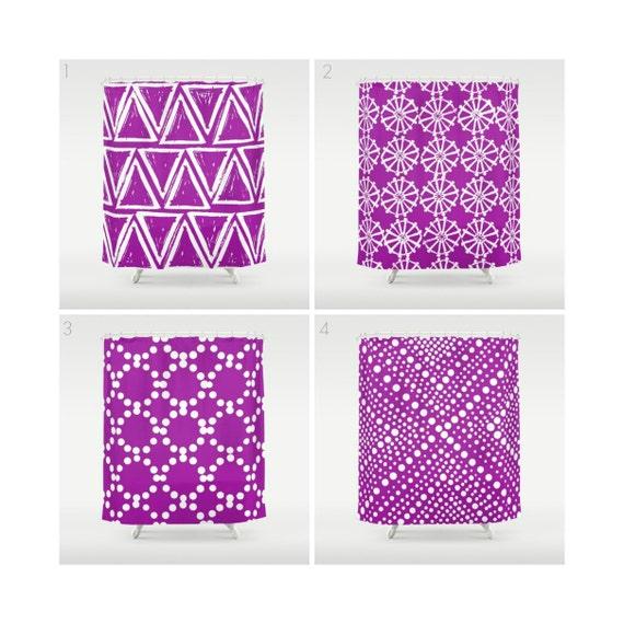 Purple Shower Curtain - Geometric Shower Curtain - Modern Shower Curtain - White Shower Curtain - Triangle Shower Curtain - Purple and White