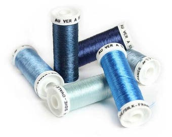 Blue / Pure Silk Ovale Thread from French Au Ver à Soie / Embroidery Thread