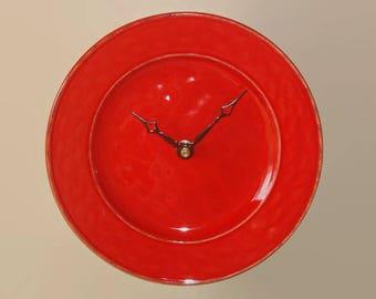 SILENT Modern Clock 9 Inches, Stoneware Plate Clock, Minimalist Wall Clock, Unique Wall Decor, Kitchen Clock, Orange-Red Kitchen Decor  2335