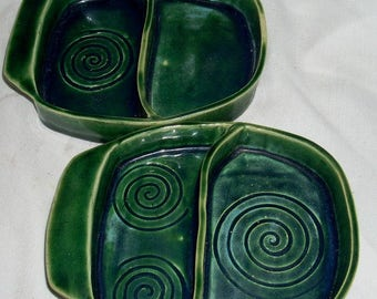 Vintage Mid Century Green Art Pottery Divided Dishes