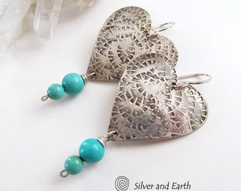 Silver Heart Earrings, Sterling Silver Earrings, Turquoise Earrings, Romantic Gifts for Her, Handmade Silver Jewelry, Mother's Day Gift