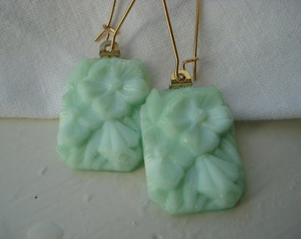 Vintage 1920's Opaque Mint Green Milk Glass Gold Earrings  Bohemian Gablonz Floral Angelskin