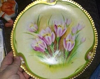 Handpainted Prussia Crocus Flowers Plate