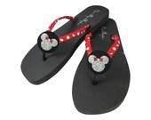 Polka Dot Minnie Mouse Glitter Flip Flops, Black Flat Sandals with Cute Sparkles