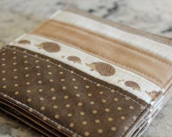 Hedgehog Brown Quilted Coasters - Set of 4
