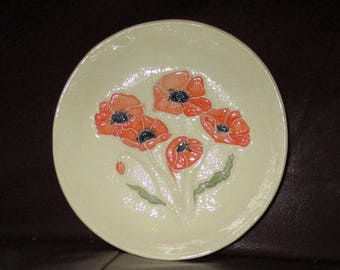 "Poppies!  Handmade Ceramic wall hanging   5""                                              206"