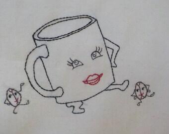 Caffeinated Coffee Mug and dancing coffee beans tea towel- hand stitched