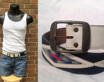 Embroidered Denim Belt - Vintage 1970s Blue Jean White Vinyl - Hand Made Haiti - Men 34 36