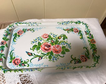 Vintage Metal Tray Floral Pattern Tray Lap Tray Serving Vanity Dressing Room Tray Kitchenware Garden Party Wall Art Display