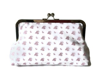 Pink and white print Bridesmaids Clutches  Wedding Purse, destination wedding, formal wedding