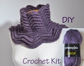 DIY Crochet Kit, Crochet Cowl kit, STAR, yarn and pattern