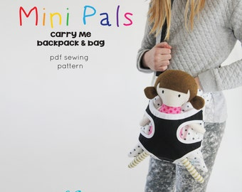 NEW Mini Pals Carry me backpack messesnger bag soft rag doll sewing pattern pdf carrier