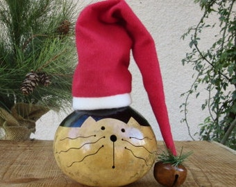 Kitty Cat Gourd Natural Primitive Decoration ( with Santa Hat )